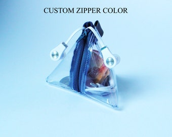 Custom Clear Pyramid Bag,Clear Bag,See Through Bag,Transparent Bag,Zipper Coin Purse,Earphone Case,Headphone Pouch,Earbud Case,Change Purse