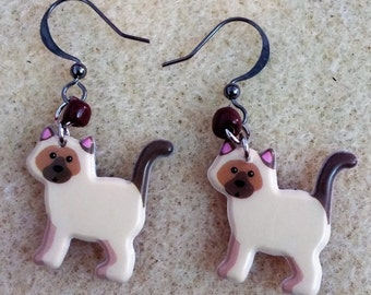 Cute siamese cat earrings