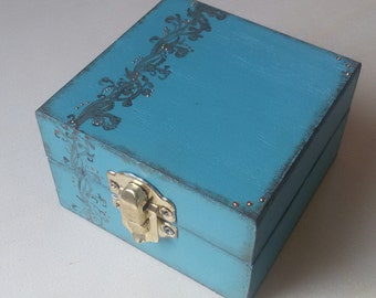 Wooden box, antique turquoise with rococo decoration and copper light points. Shabby-chic, french provencial, french country. OOAK
