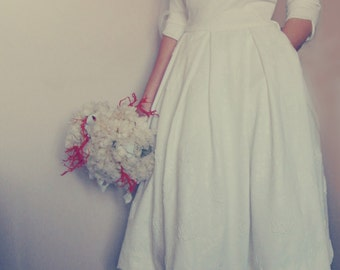 Tea length wedding dress, vintage wedding dress, tea length .50 .60 's dress's dress, short wedding dress, white dress,