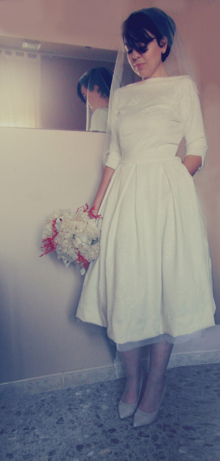 Tea length wedding dress vintage wedding dress tea length for Etsy tea length wedding dress