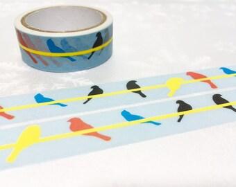 little birds washi masking tape 5M water color bird colorful bird fat bird Garden bird deco tape sticker bird decor cute planner tape gift