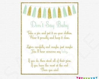Don't Say Baby Mint and gold baby shower game, clothes pin game, dont say baby game, mint gold tassels, instant download, printable, TASMG