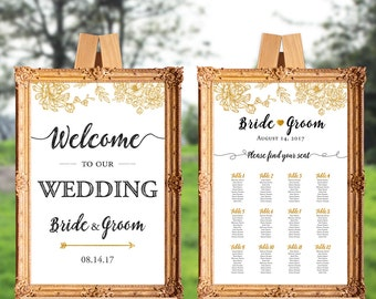 Wedding welcome sign and seating chart - set of two - welcome to our wedding - PRINTABLE - 16x20 - 18x24 - 20x30 - 24x36