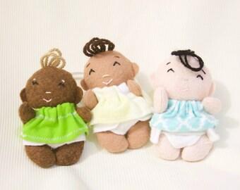 Felt doll- Custom made doll- CUstom doll- Wool blend felt dress up doll- Baby doll- Miniature 4 inch doll