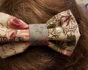 "Shabby Chic Bow Headband - ""French Rose"" (Rossella's Designs)"