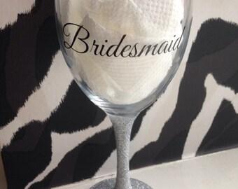 Bridesmade wine glass