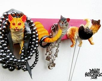 Pink Crazy Cat Coat/Key/Jewellery/Clothes/Lead Hook - FREE UK P&P