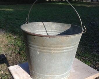 Vintage Metal Galvanized Bucket Vintage #10 Farm Metal Pale