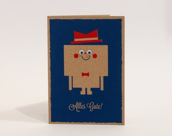 Birthday greeting card - all the best - printing card with moving eyes - DIN A6 power box - greeting card with envelope - blue red