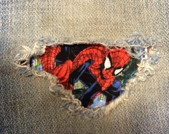 "Set of 2 Spiderman 4"" x 4"" assorted ""Peek a Boo""  Jean Patches Super Strong Iron On- Denim by Hol(e)y Patches"