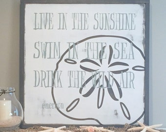 Beach Sign - Coastal Collection - Beach Quote - Quote Sign - Sand Dollar - Wooden Sign - Sea Quote