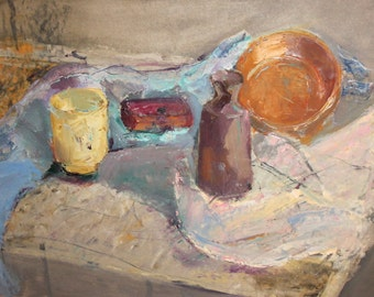 Vintage postimpressionist oil painting still life with bottle and bowl