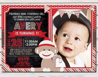 Sock Monkey Boy Printable Birthday Photo Invitation - DIY - PDF & JPG Files only