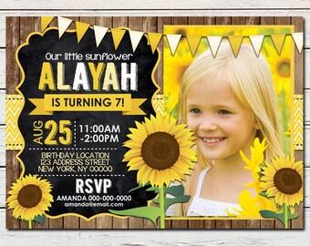 Sunflower Girl Printable Birthday Photo Invitation - DIY - PDF & JPG Files only