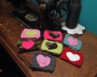 Crocheted Heart Coffee Cozy, Cross Coffee Sleeve, Crocheted Coffee Sleeve