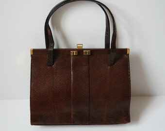 Vintage Genuine Lizard Skin Handbag, Brown Leather Purse, Leather Kelly Style Bag, 1960s, Made in England
