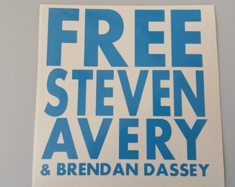 FREE STEVEN AVERY & Brendan Dassey Vinyl Window Decal .. Free Shipping .. Laptop Sticker .. Car Sticker Netflix Making a Murderer