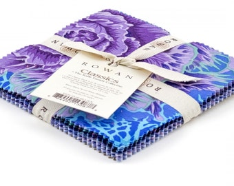 Kaffe Fassett Collective - Blue Classics 5 inch Charm Pack - purples cotton 30 pieces precut 5 inch squares philip jacobs fb5cpgp.bluex