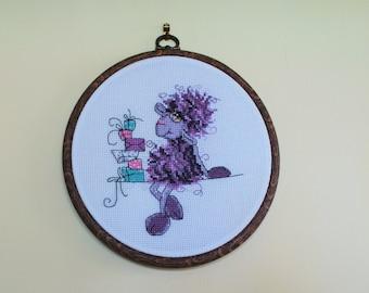 Handmade sheep cross stitch Embroidery