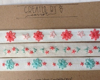 3 pack hand stitched flower headband