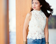 White Lace Top. Island Flora Lace Top with Mock Neck. Silver Buttons with Hem Lace Details Ships Worldwide.