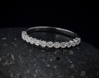 Diamond Milgrain Bezel Set Wedding Band - White Gold - Choose Your Setting