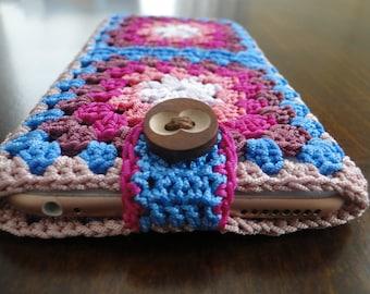 Crochet floral phone case