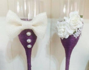 Purple and ivory his and hers toasting glasses