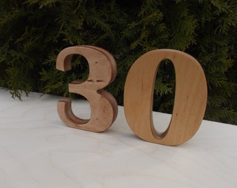 "1-30 5"" Wooden table numbers, Wedding table decoration, Wedding reception decor, Party, Table Numbers, Table decor, Free standing numbers"