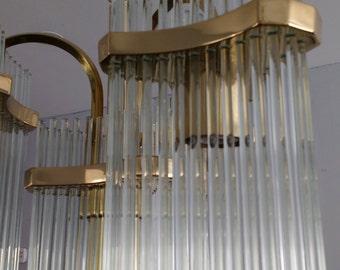 Four Arm Gaetano Sciolari Glass Rod Chandelier