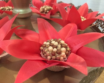 """20 Luxury fabric / Silk / Satin / Burlap """"CANDY CUP"""" Star Flowers for and elegant Dessert Table or Chocolate Bar Display at party or wedding"""