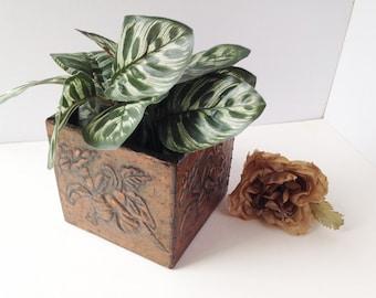 Decorative Copper Plant Holder / Copper Planter / Embosed Copper / Vintage Copper / Vintage Planter / Copper Pot / Copper Decor