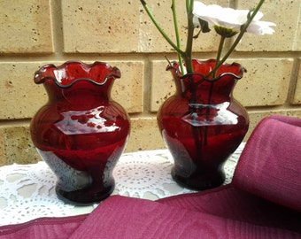 Pair of Matching Ruby Red Vases  Vintage