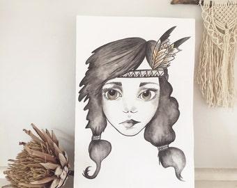 Tribal Girl Print
