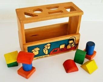 Vintage Wooden Sorting Blocks - Building Blocks - JayMark Toys - 70's - 80's Era
