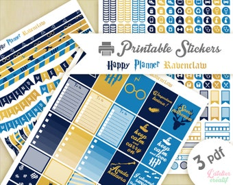 Printable stickers Harry Potter Ravenclaw | 3 pdf | Instant download | Planner, Happy planner