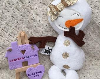Handmade Cute Snowman/Snowgirl Doll Made to Order