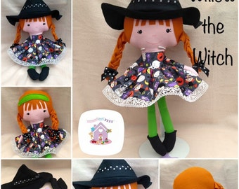 Handmade Soft Fabric Doll - Willow The Witch Ready To Buy