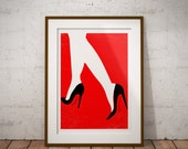 Red Soles Minimalist Retro Vintage Fashion art print