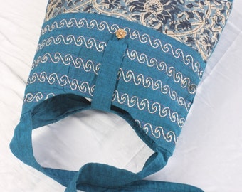 Sling bag or Single strap bag in Blue Mangalagiri Cotton Indian Fabric with Hand-embroidery, light eco-friendly, college bag