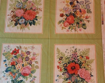 Cyrus Clark Screenprint ~ 4 Vintage  Pillow Covers or Floral Prints Fabric to Frame ~ JUBILEE