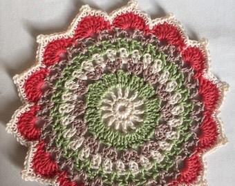 Beautiful versatile colourful Crocheted Mandalas - approx 20cm in diameter.