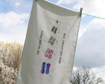 Personalised Flip Flop Family Tea Towel
