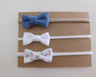 White and Denim Bows