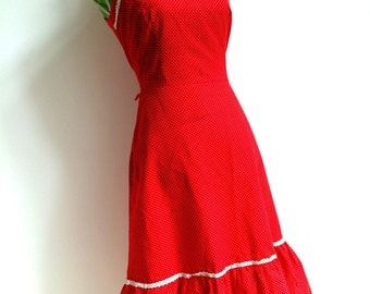Circa 1970's Gorgeous Red Cotton Dress with Tiny White Dots by Chic!