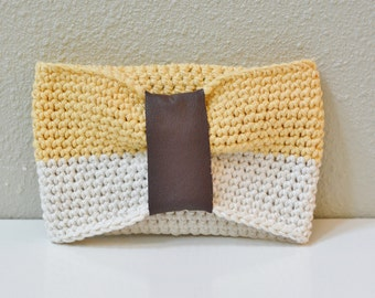 Cotton and Upcycled Leather Crochet Dog Cowl yellow white brown pet accessory