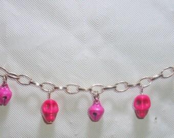 Bracelet chain skull and coloured bells