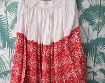 Vintage romanian folk hippie maxi skirt S