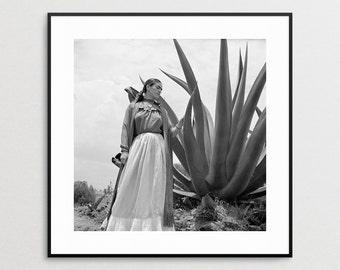 Frida Kahlo Photo Reproduction - Agave Plant -  Print -  Vogue Magazine - Toni Rissell - Wall Art - Mexican Painter - Photo - Latino Art